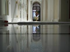 Restore the gloss on marble floors