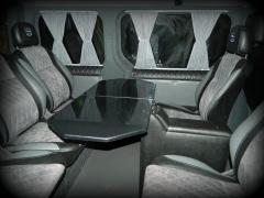 Table in the car, table in the minibus, side table in the bus